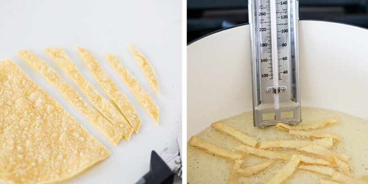 frying tortilla strips in a pan with oil