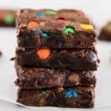 stacked m&m brownies