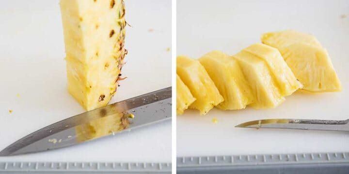 sliced pineapple on cutting board