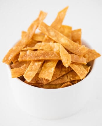 tortilla strips in white bowl