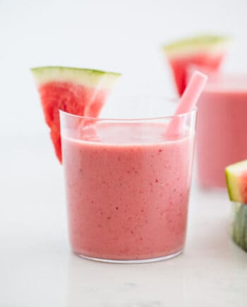 watermelon smoothie in glass cups