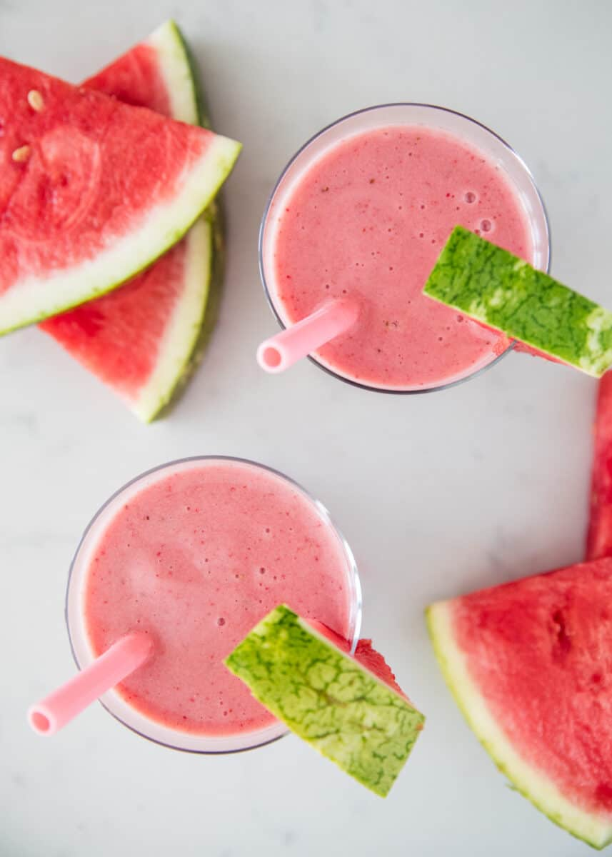 watermelon smoothie in cups