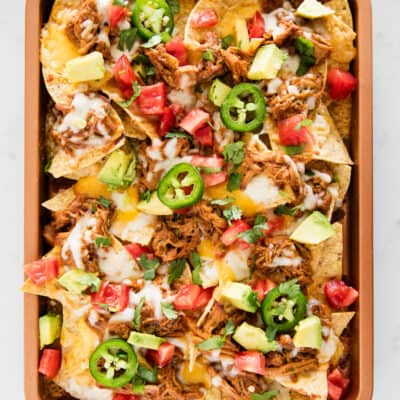 bbq pork nachos on pan