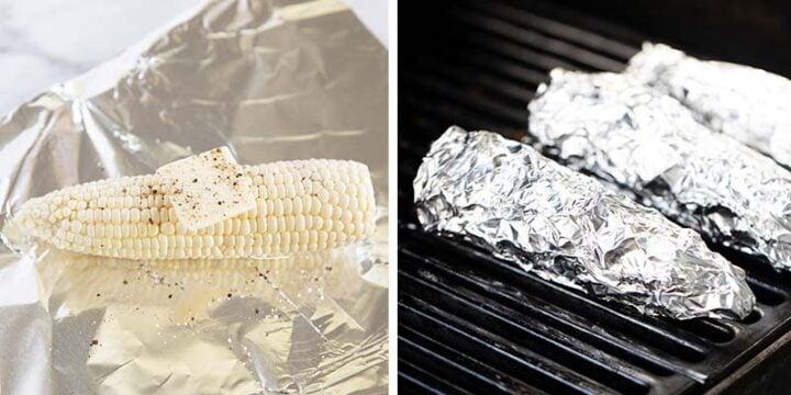 grilling corn in foil