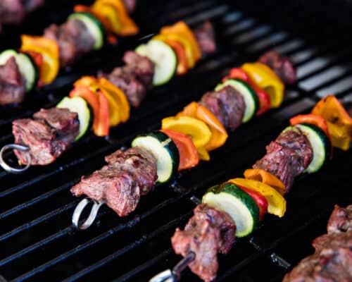 steak kabobs on the grill