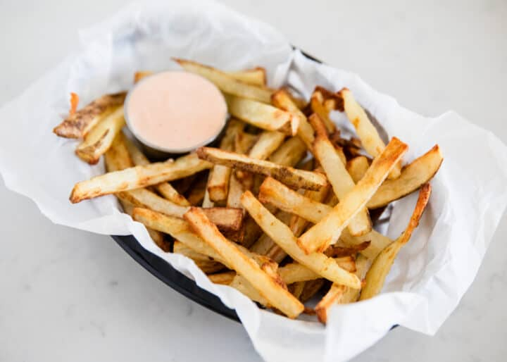 homemade french fries in basket