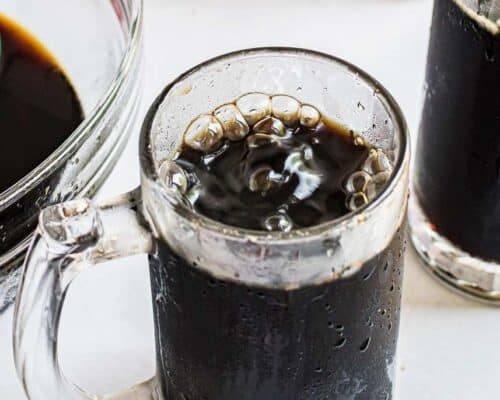 homemade root beer in glass