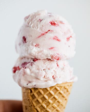 strawberry ice cream in cone