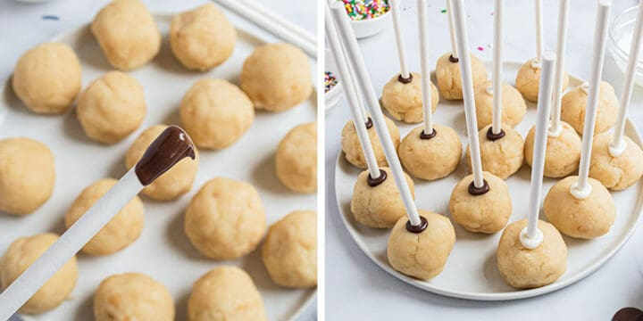 dipping sticks in chocolate for cake pops