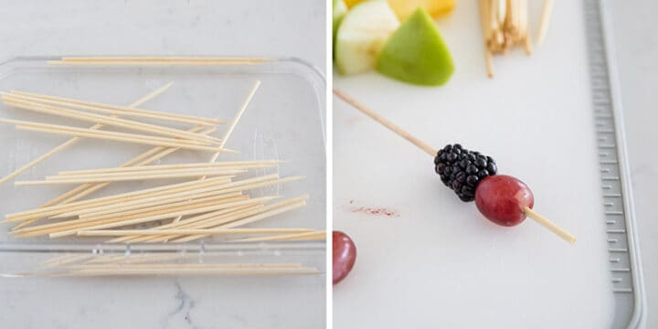 placing fruit on wooden skewers