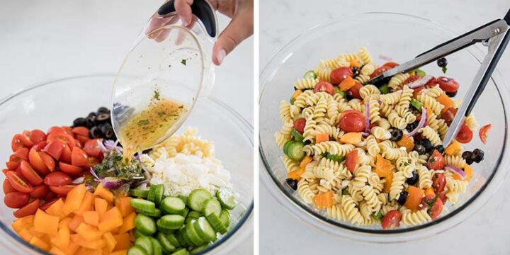 Pouring dressing over greek pasta salad