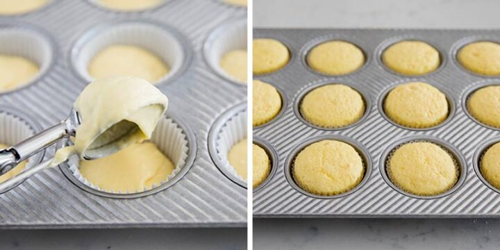 baking vanilla cupcakes in muffin pan