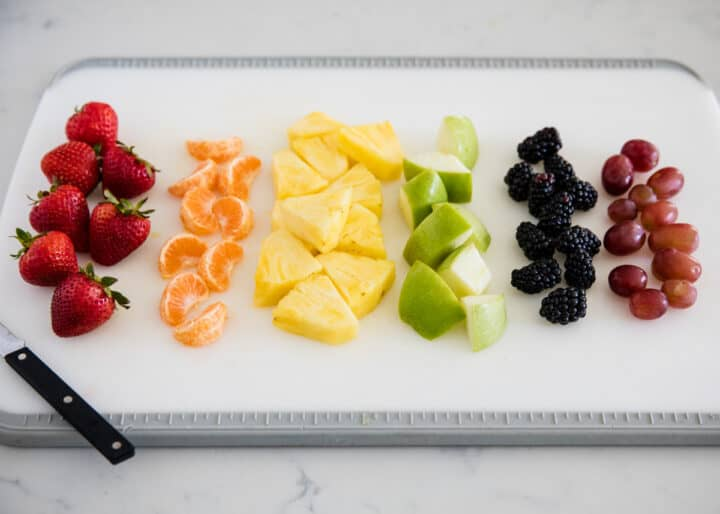 fruit on white cutting board