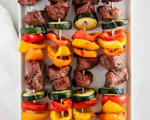 steak kabobs on white plate