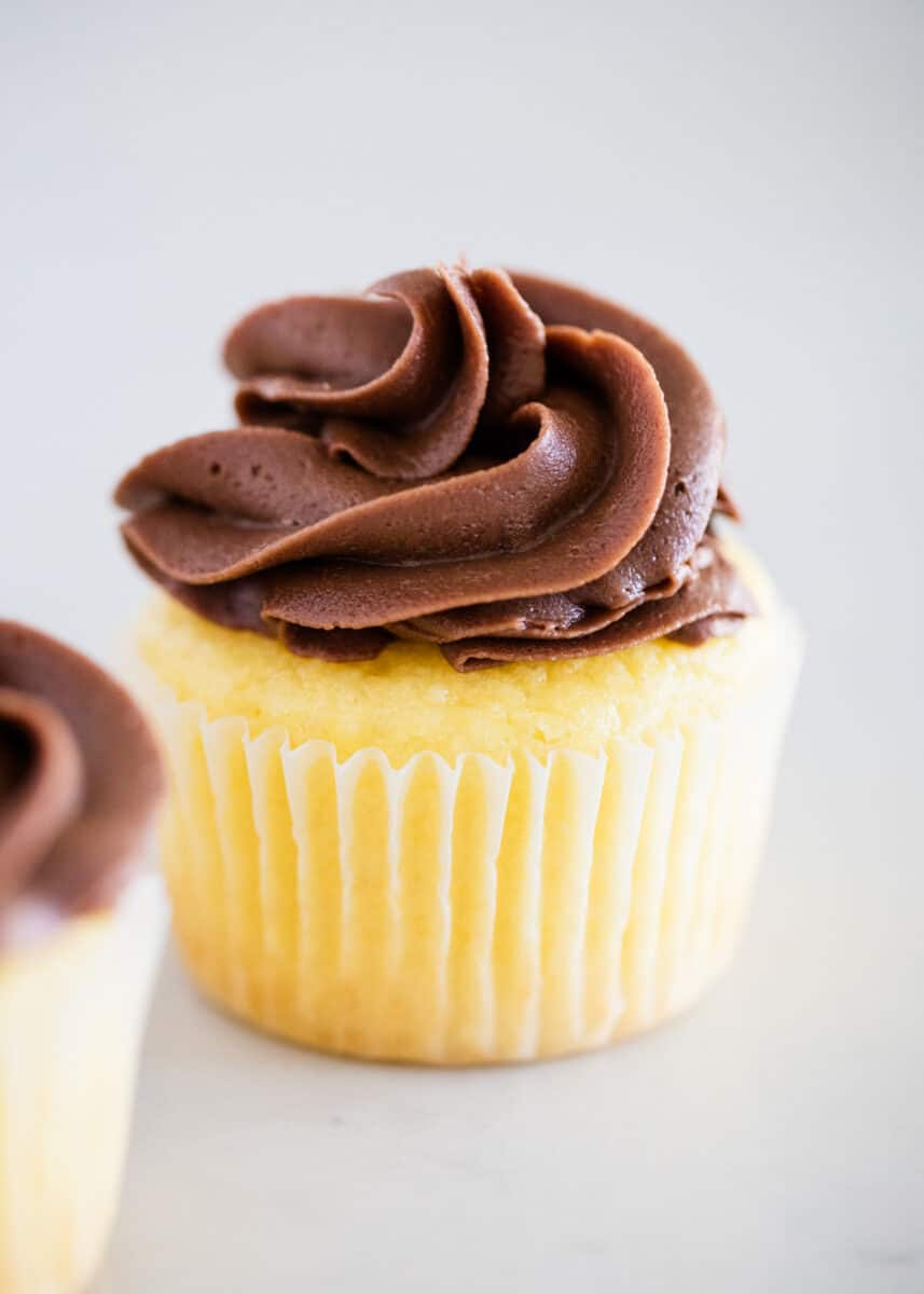 vanilla cupcake with chocolate frosting