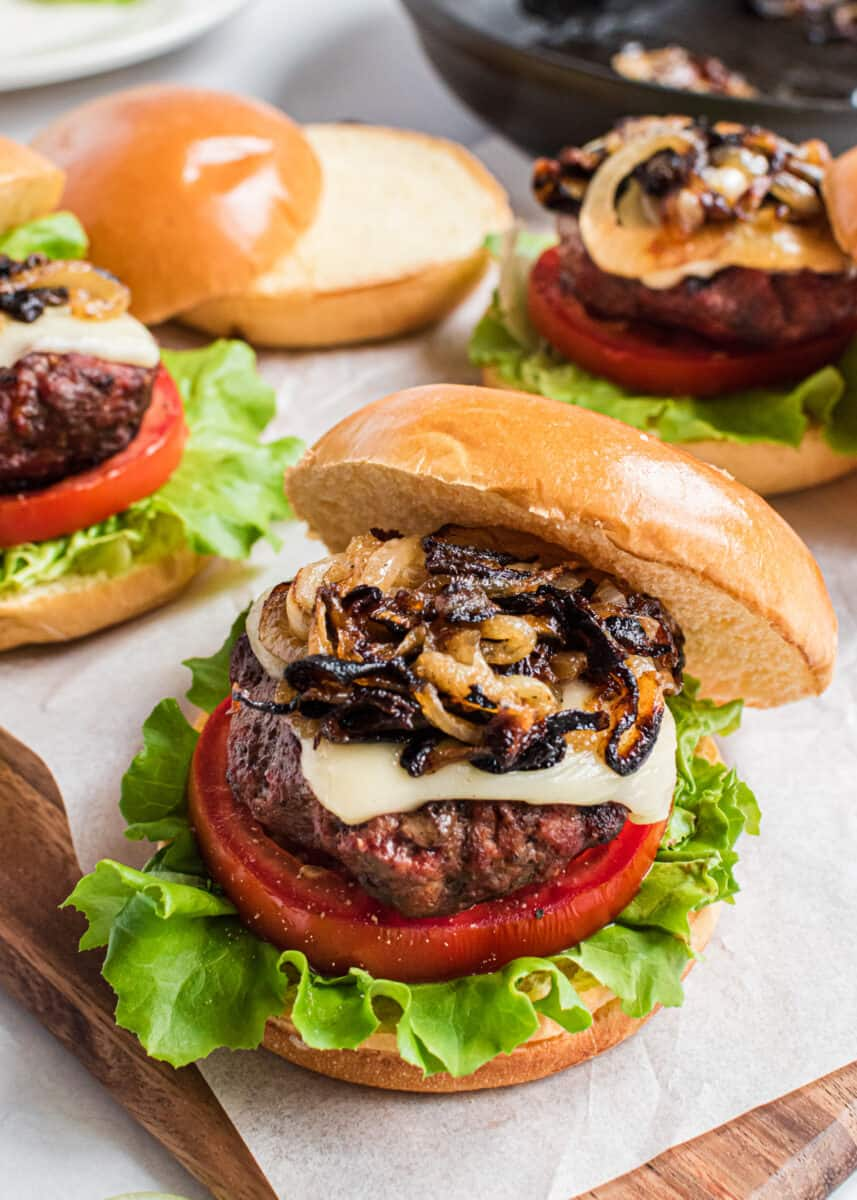 Italian burger with caramelized onions