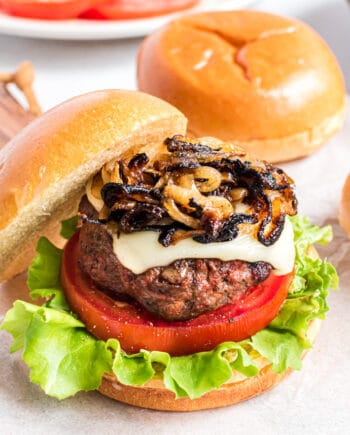 Hamburger with caramelized onions
