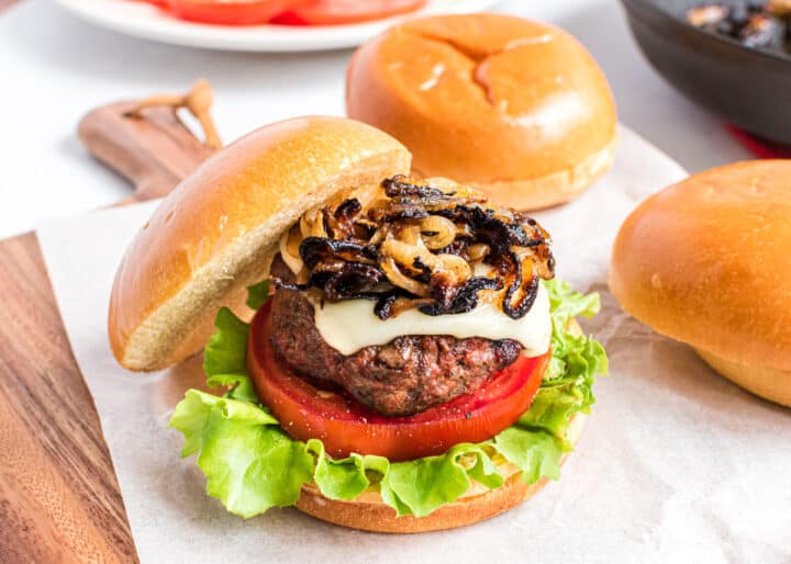 Italian hamburger with caramelized onions