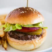 hamburger on white plate with french fries
