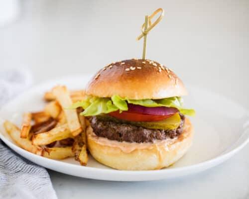 hamburger on white plate