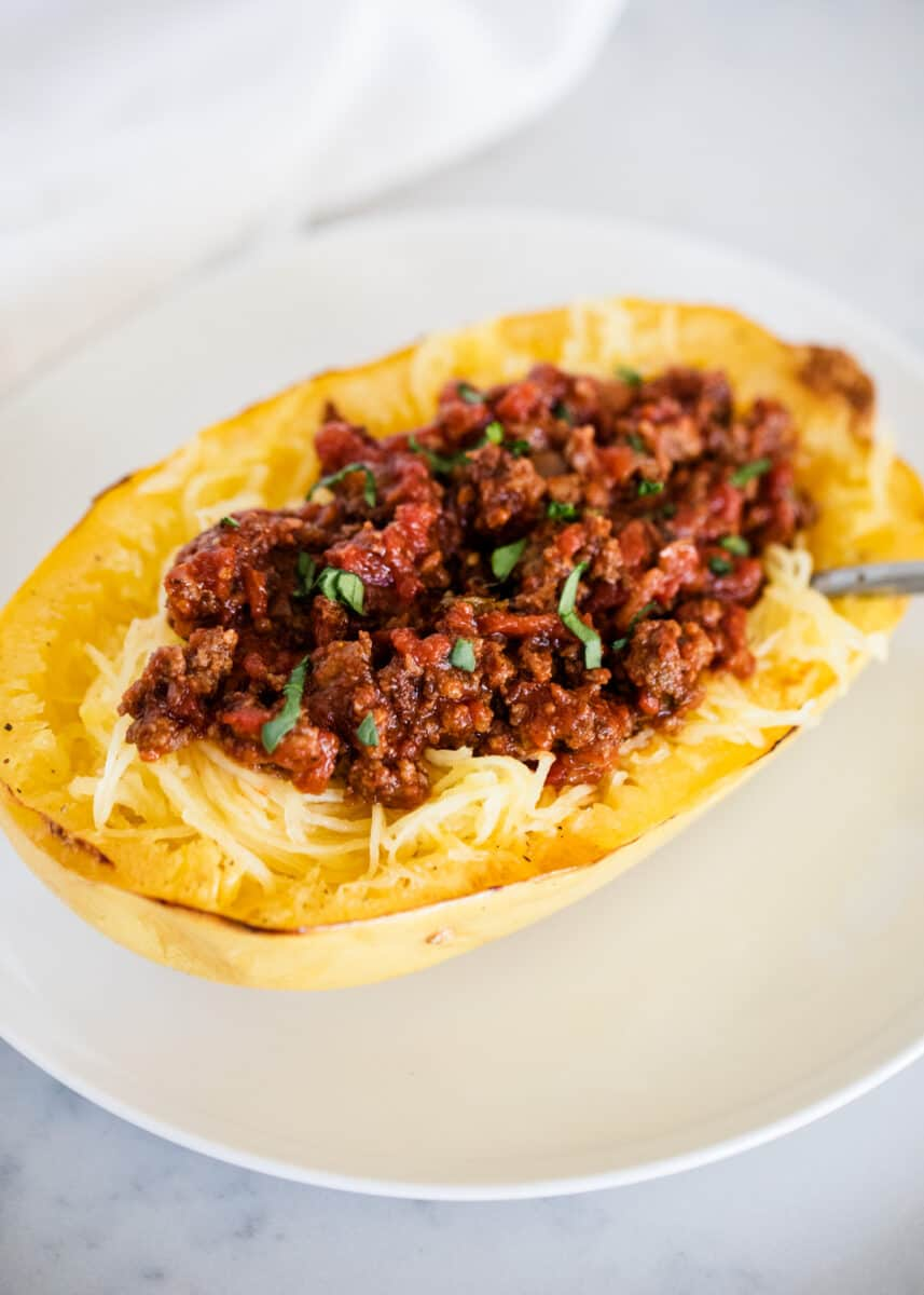 spaghetti squash boat with meat sauce