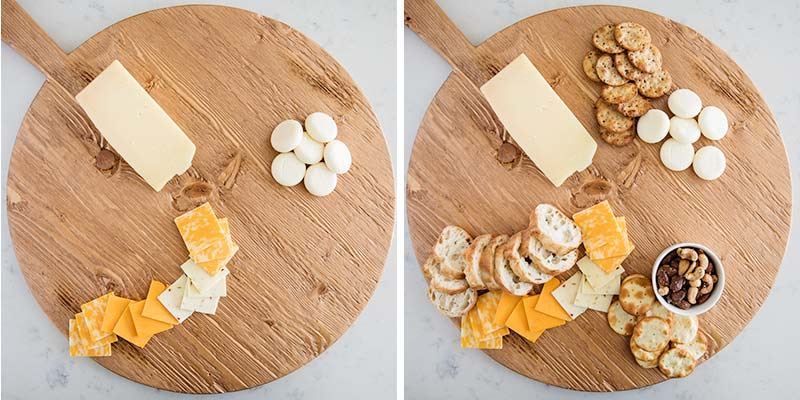 placing cheese and on a board