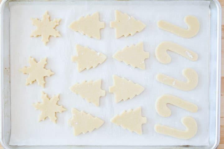 christmas sugar cookies on pan
