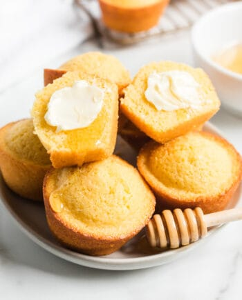 cornbread muffins on white plate