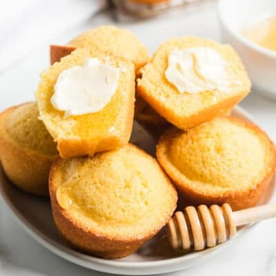 cornbread muffins on white plate