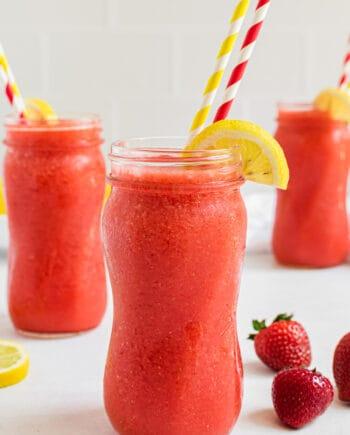 frozen strawberry lemonade in glasses