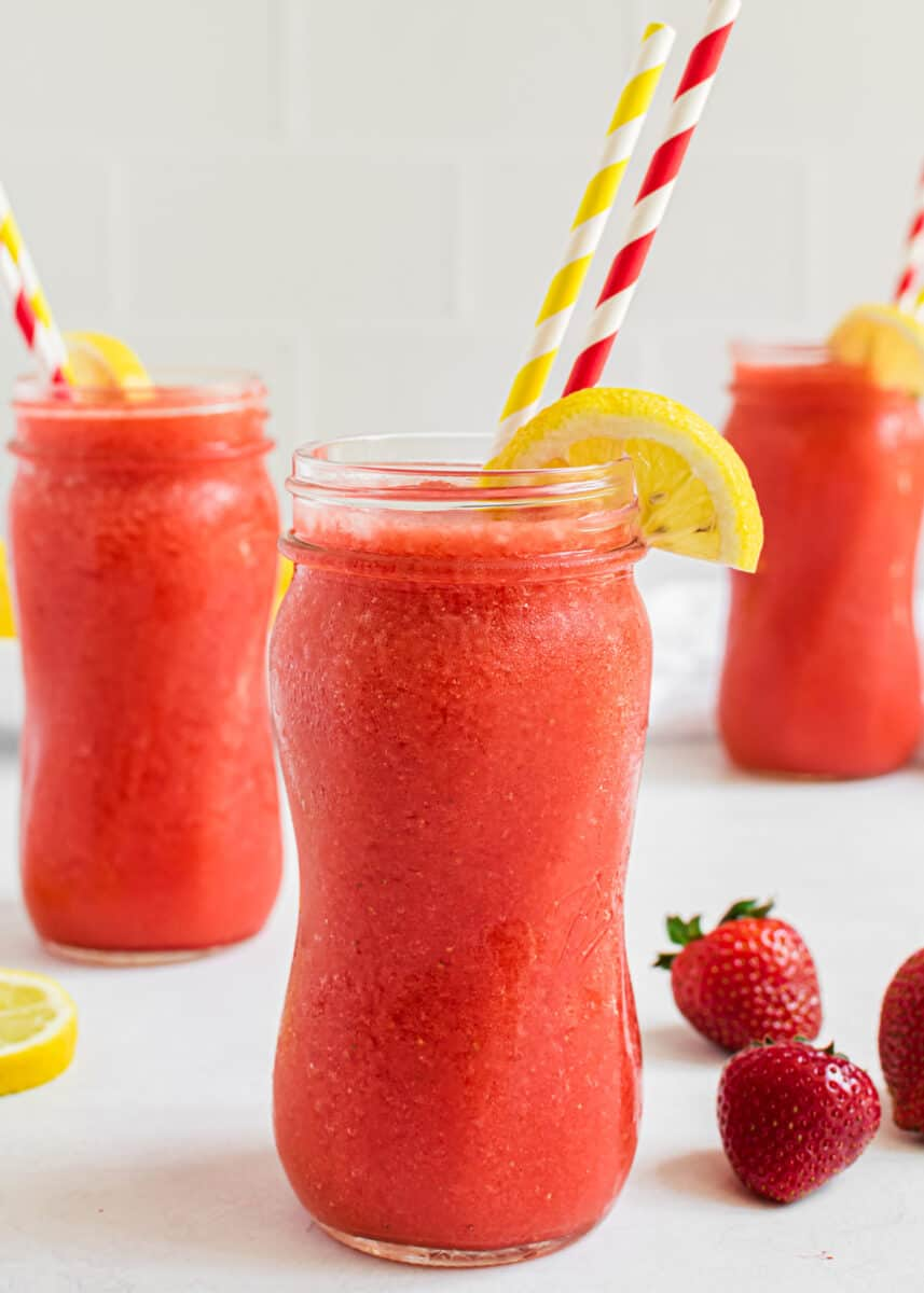 frozen strawberry lemonade in glasses