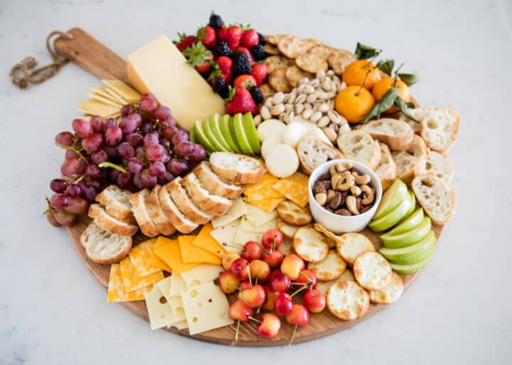 fruit and cheese tray on counter