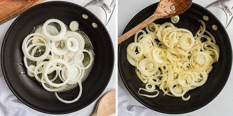 caramelizing onions in skillet