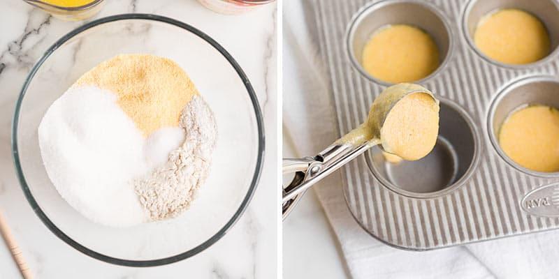 making cornbread muffin batter