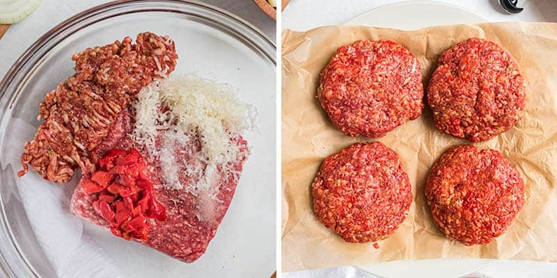 Forming Italian hamburger patties