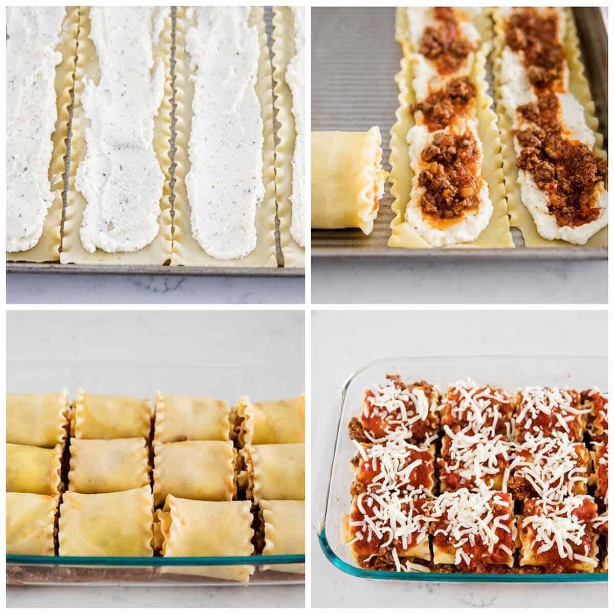 rolling up lasagna noodles