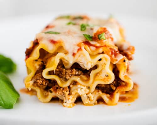 lasagna roll up on plate