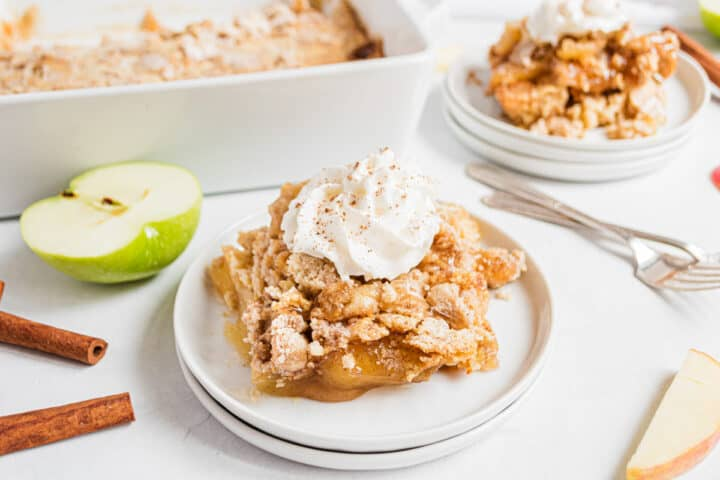 apple dump cake on white plate
