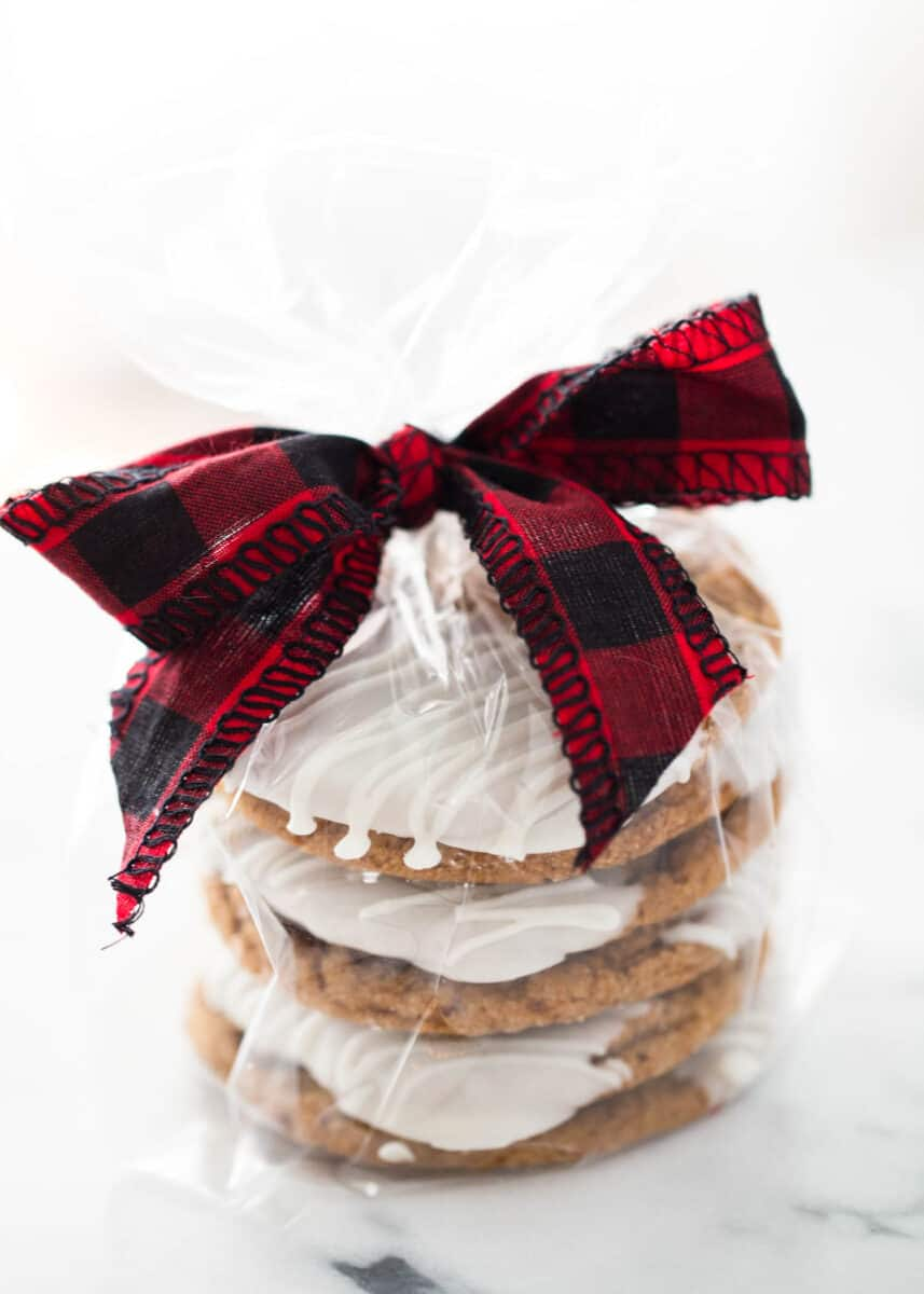 molasses cookies wrapped in cellophane and tied with a plaid bow