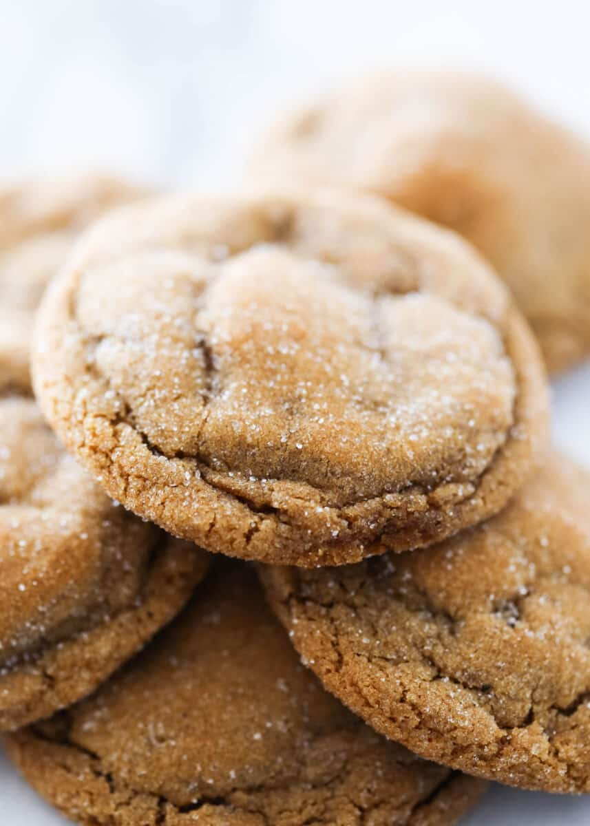 ginger molasses cookies with sugar on top