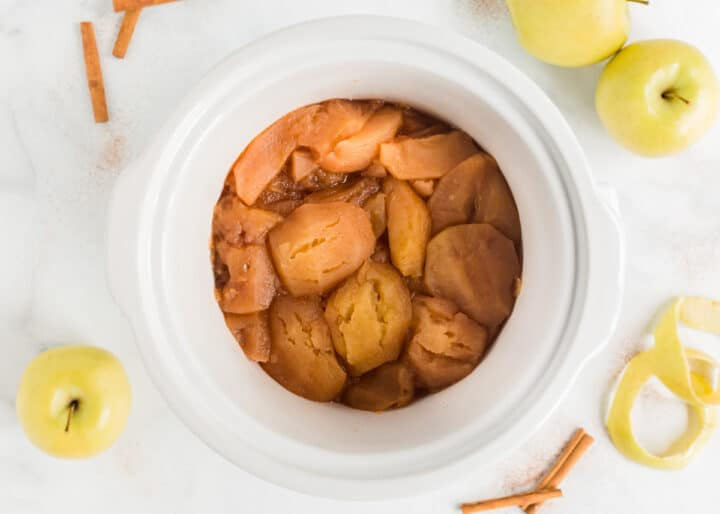 cooked apples in crockpot