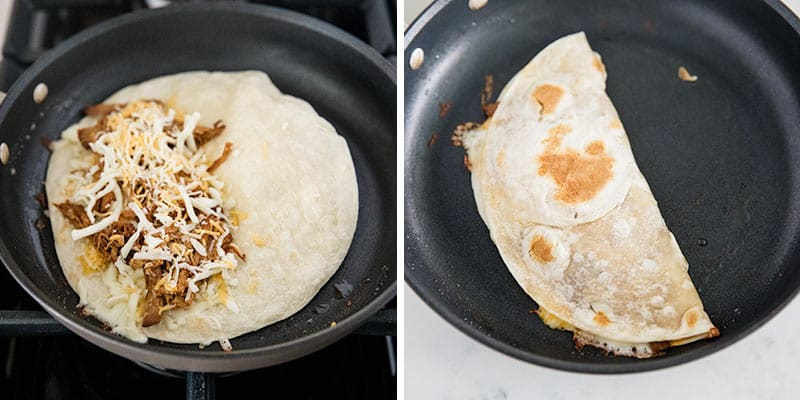 cooking pulled pork quesadilla in skillet