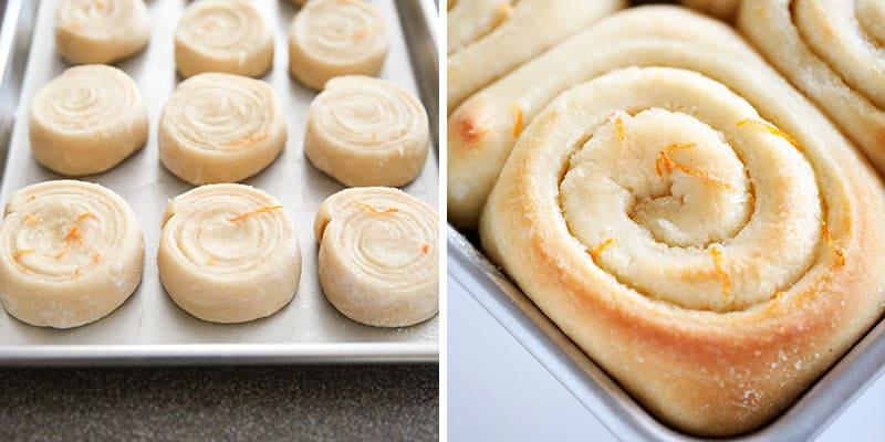 orange rolls on baking sheet