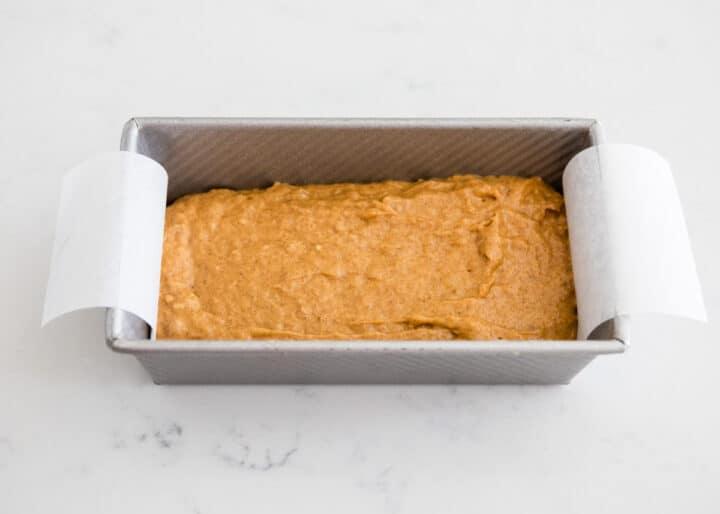 pumpkin bread batter in pan