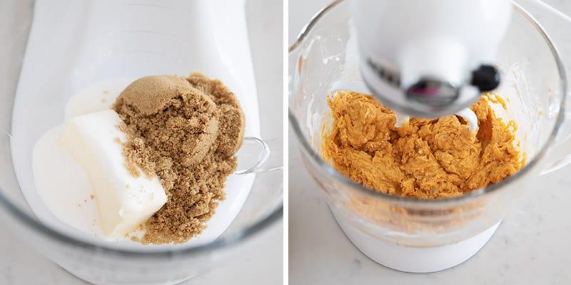mixing pumpkin banana bread in bowl