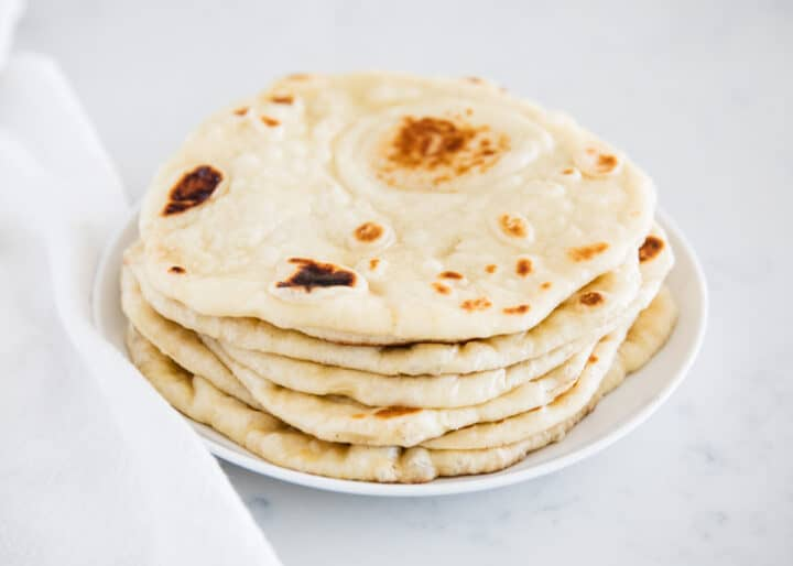 naan bread on white plate
