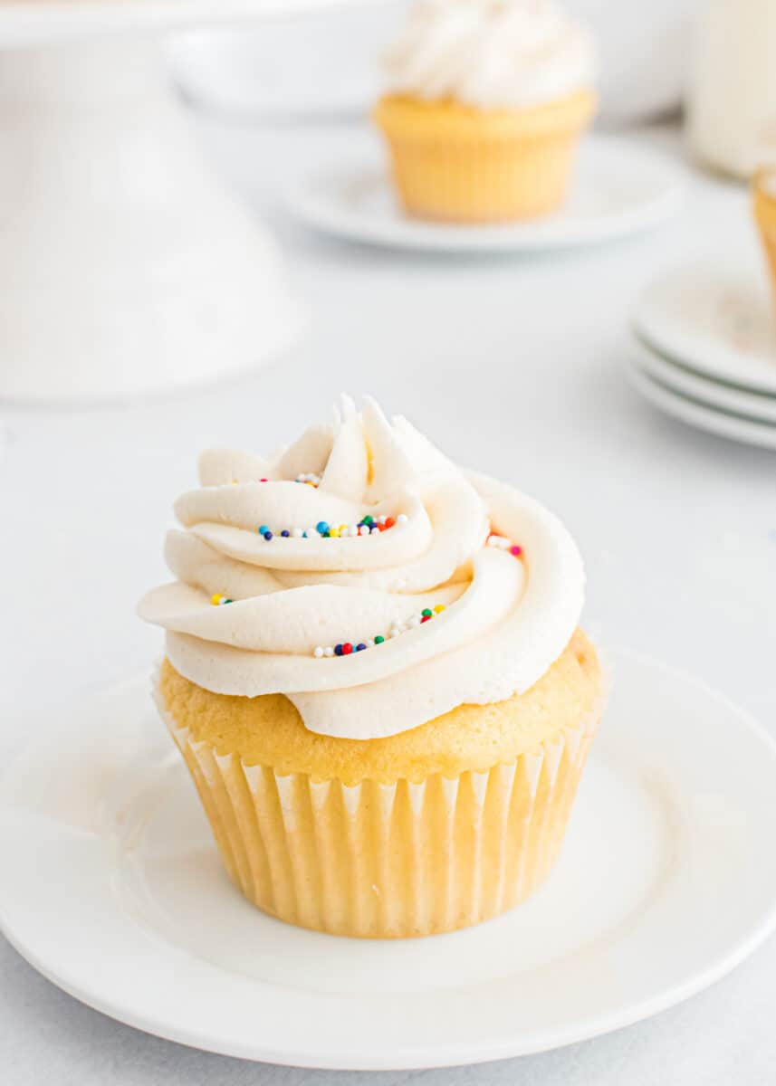 vanilla frosted cupcake