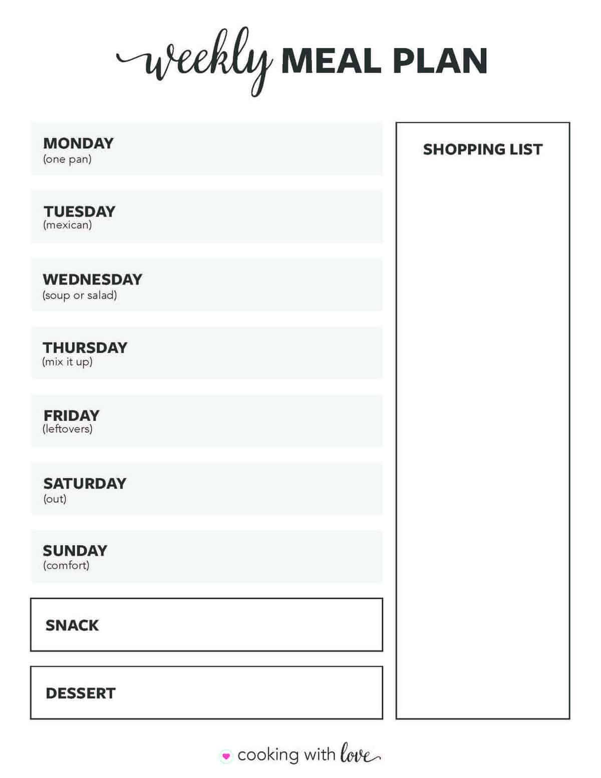 Free Printable Weekly Meal Plan Templates I Heart Naptime