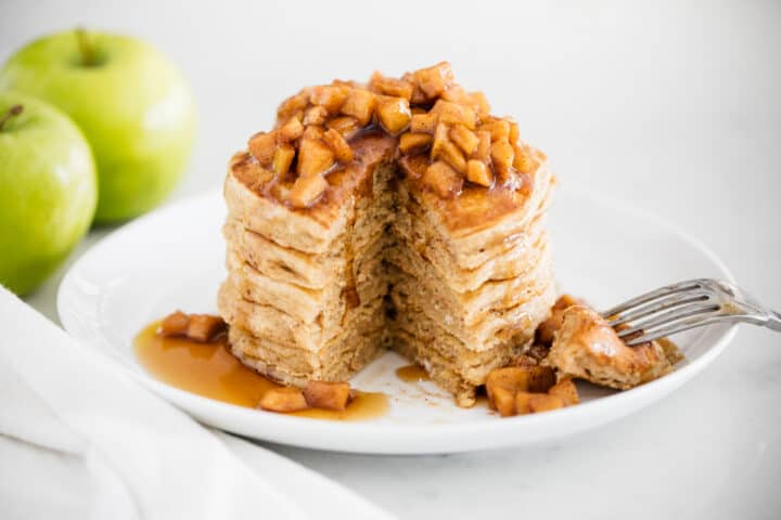 stack of apple pancakes