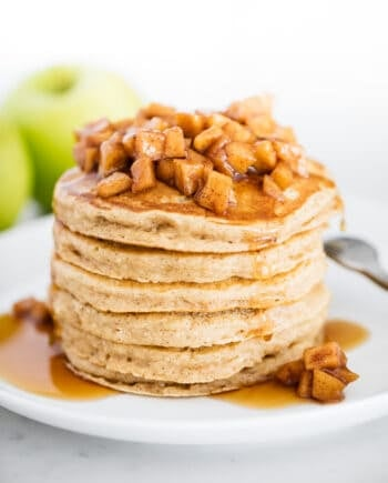 apple pancakes on white plate